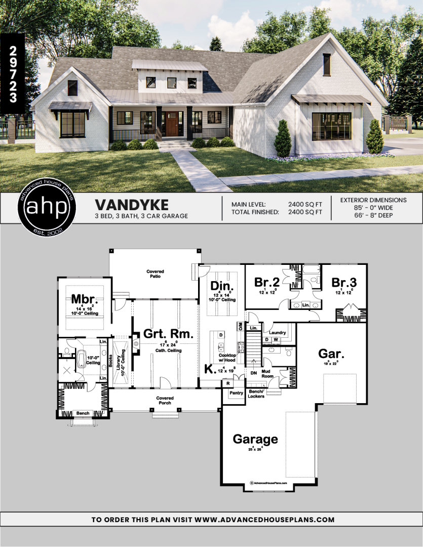 1 Story Modern Farmhouse House Plan Vandyke House Plans Farmhouse Brick Farmhouse Modern Farmhouse Plans