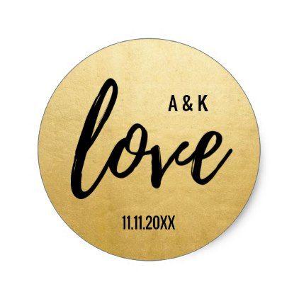 Monogram Faux Gold Foil LOVE Script Black Wedding Classic Round