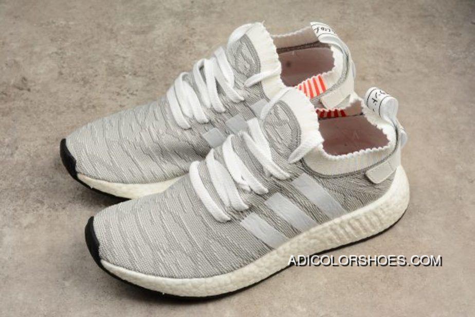 15febbc875558 Adidas Originals Nmd R2 Pk Primeknit Grey White Men Running Shoes Best