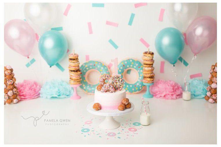 Doughnut Banner Birthday Party Banner Teal Donut Cake Smash Banner