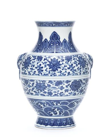 A Ming-style blue and white baluster vase, hu, Daoguang seal mark and of the period (1821-1850)