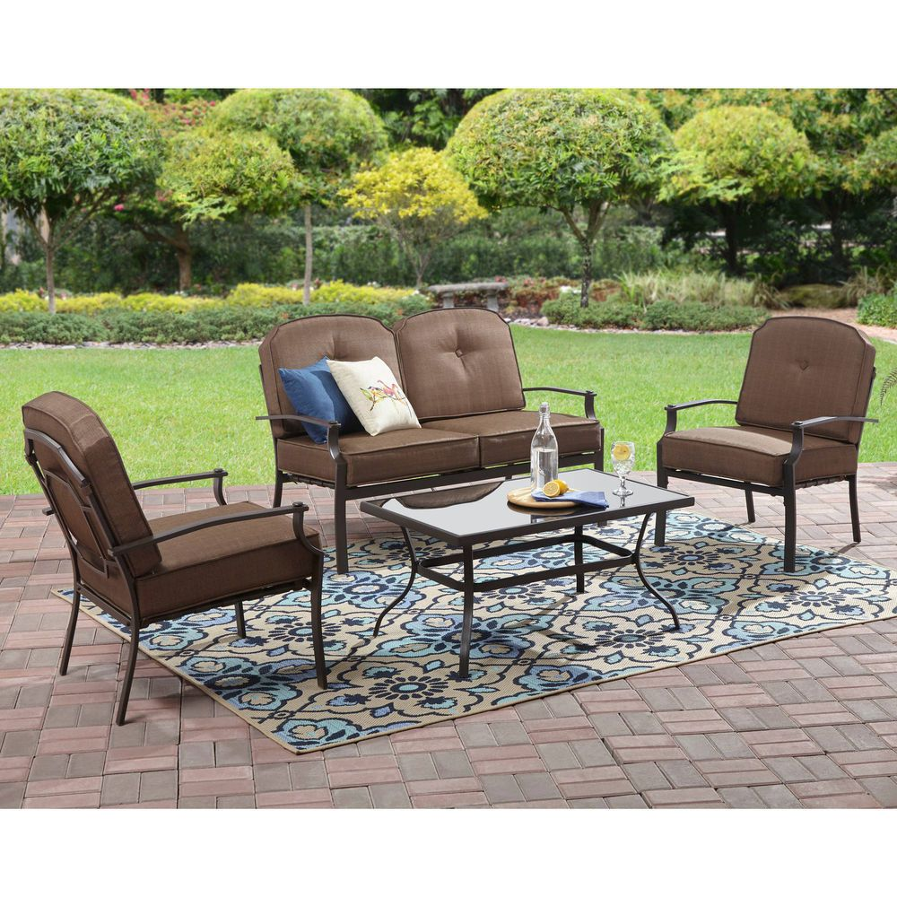 4 Piece Patio Conversation Set Deck Outdoor Cushions Chair