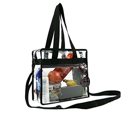11b6a856c7d2 Clear CrossBody Messenger Shoulder Zippered Bag w Adjustable Strap NFL PGA  Stadium Security Approved Travel Gym Clear Tote X 12 X 6     For more  information ...