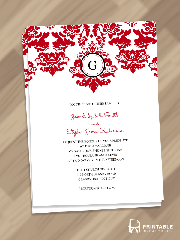 Free pdf download elegant damask border with monogram invitation elegant damask border with monogram invitation for customizations printableinvitationkits stopboris Gallery