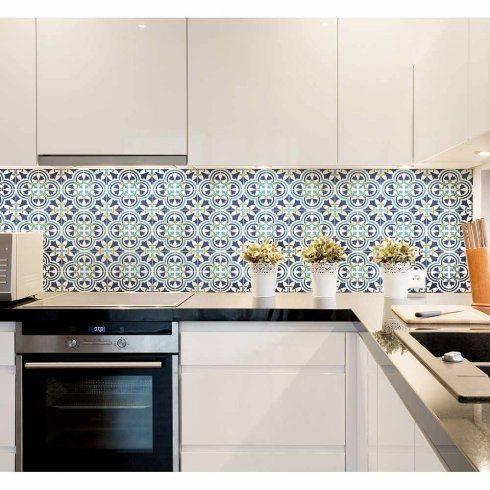 Stenciled backsplash kitchen tile stencils augusta spanish for Spanish style kitchen backsplash