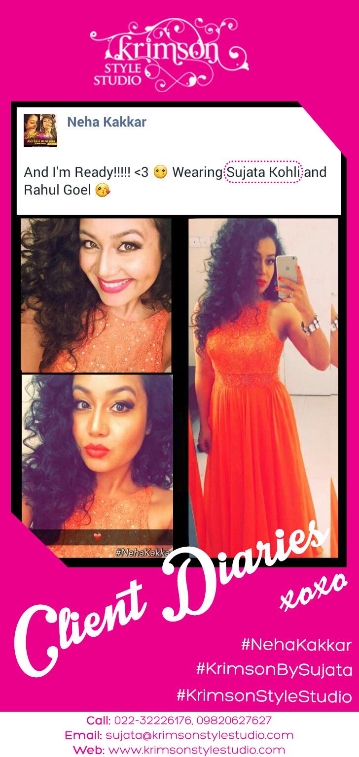 Clientdiaries Neha Kakkar Adorning A Stunning Orange Gown By Sujata K Amrohi Nehakakkar Krimsonstylestudio Flo Celebrity Design Orange Gown Neha Kakkar