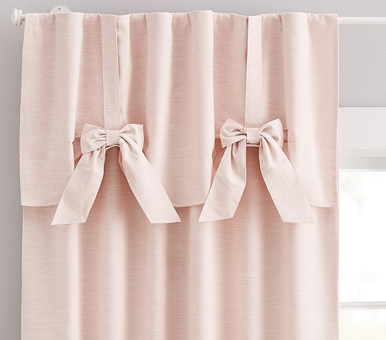 Evelyn Linen Blend Bow Valance Blackout Curtain In 2020 Blackout