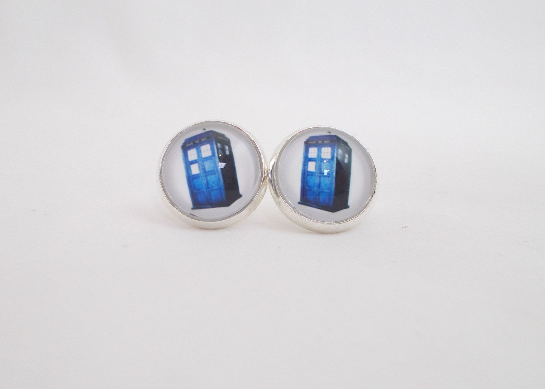 Blue Phone Booth Earrings Fun For S Stocking Stuffers Unusual Tween Jewelry