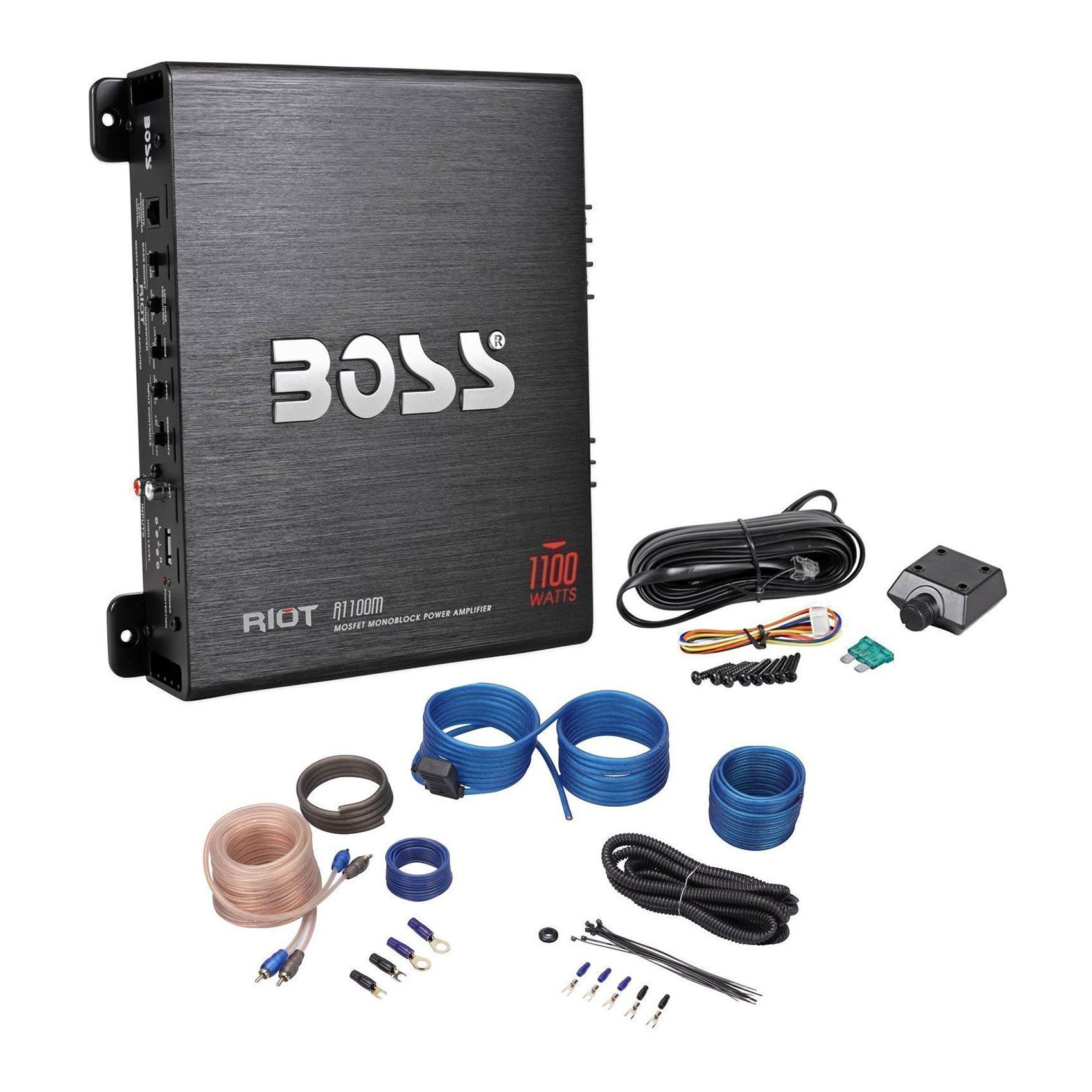 Package Boss Riot Series R1100m Monoblock 1100 Watt Class A B Car Power Acoustik 8ga Amp Wiring Kit Audio Amplifier With Sub Bass Remote Rockville Rwk10 10 Gauge 2 Channel Complete Wire