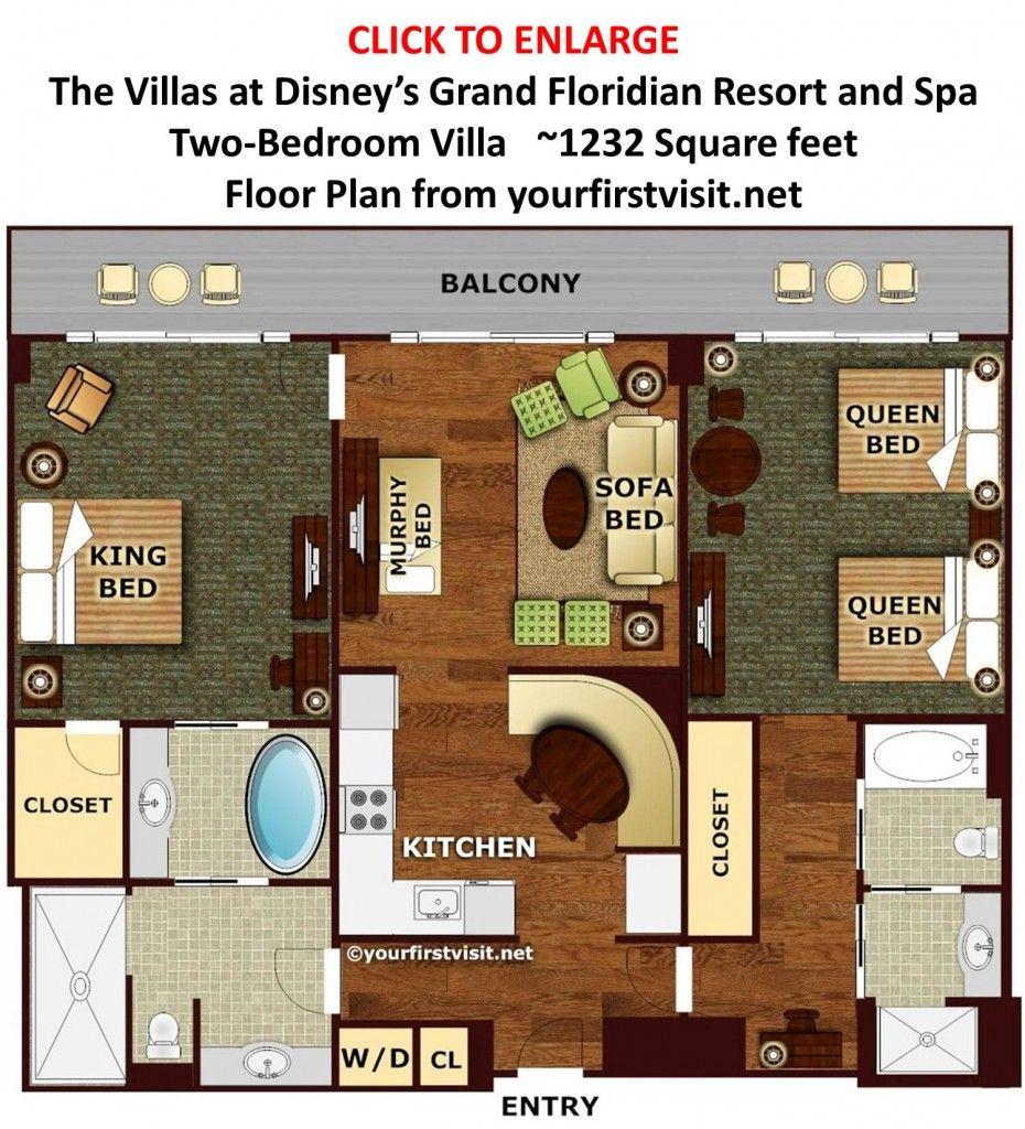 Floor Plan Two-Bedroom Villa the Villas at Disney's Grand Floridian from  yourfirstvisit.net