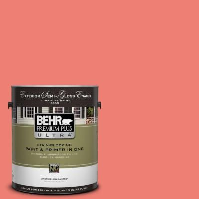 Behr Ultra 1 Gal 170b 5 Youthful Coral Semi Gloss Enamel Exterior Paint And Primer In One 585301 The Home Depot Behr Premium Plus Ultra Exterior Paint Behr Ultra