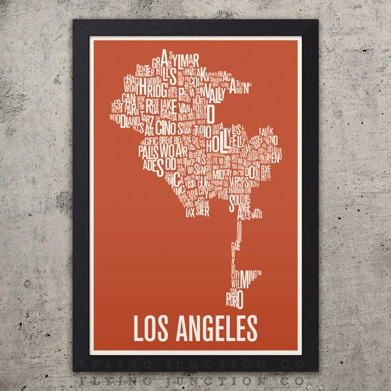 Los Angeles Neighborhood Typography City Map Print Etsy Map Print Los Angeles Map Typography Prints