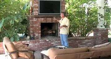 A Video Highlighting Outdoor Fireplace Design. See A Beautiful Brick  Fireplace Complete With A Santa Maria Grill And Outdoor Tv.