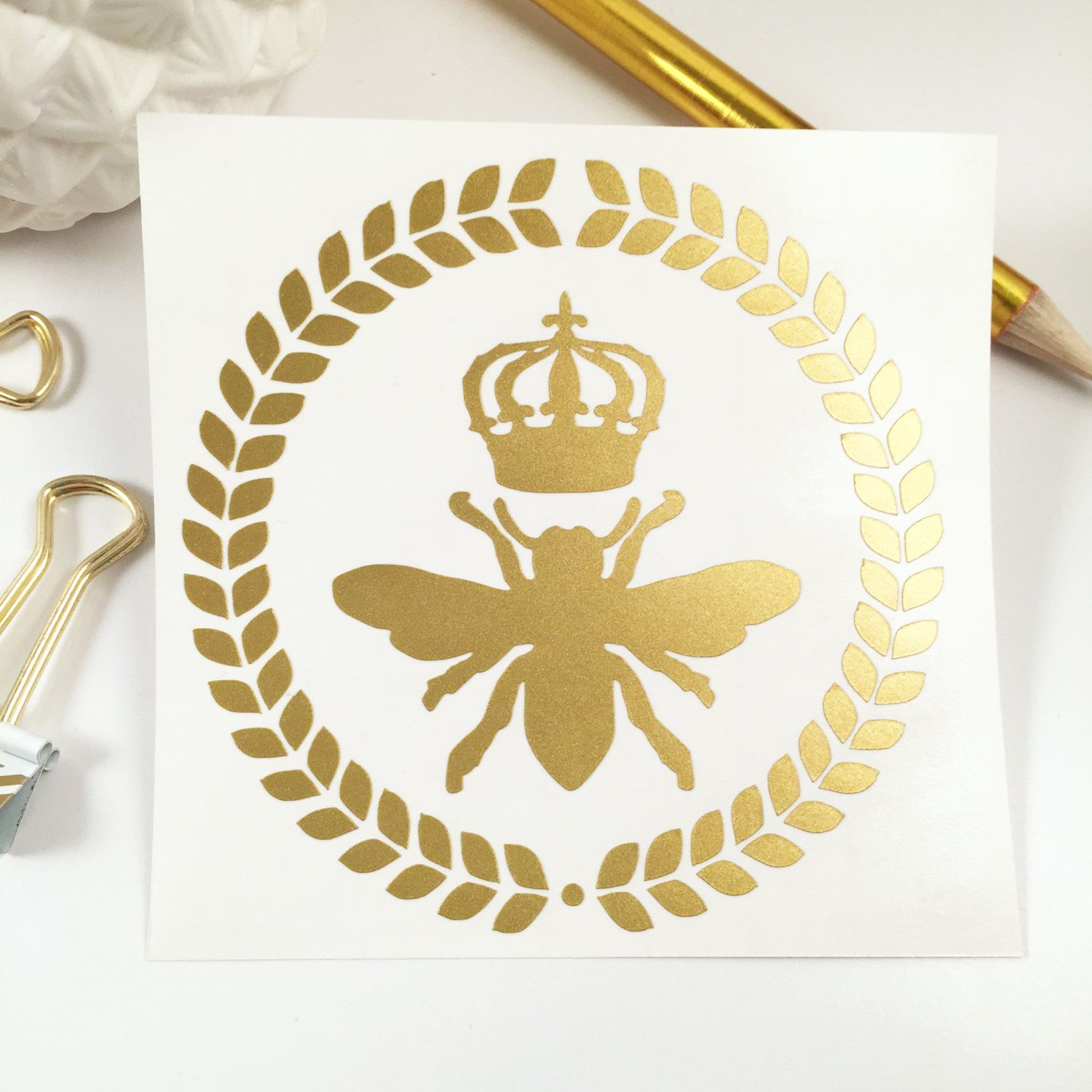 Gold queen bee decal sticker car decal laptop decal