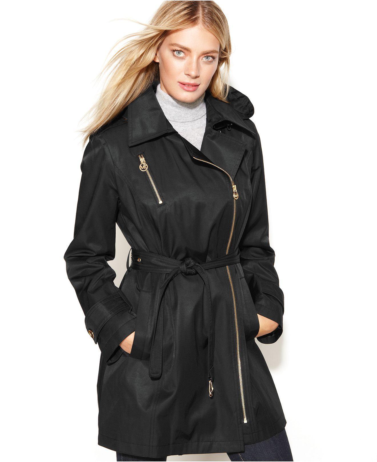 Michael Michael Kors Coat Asymmetrical Hooded Belted Trench Coats Women Macy S Michael Kors Coats Coats Jackets Women Trench Coats Women [ 1616 x 1320 Pixel ]