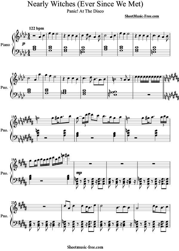 Nearly Witches Sheet Music Panic At The Disco Cello Sheet Music