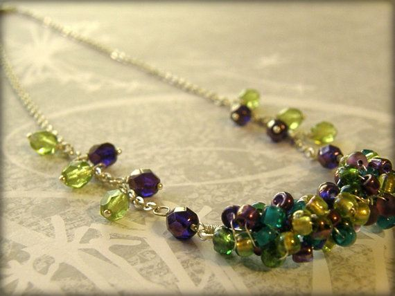 Teal Green Purple Lime Green Necklace Bridesmaid Necklace Bride Necklace Prom Necklace on Etsy, $25.00