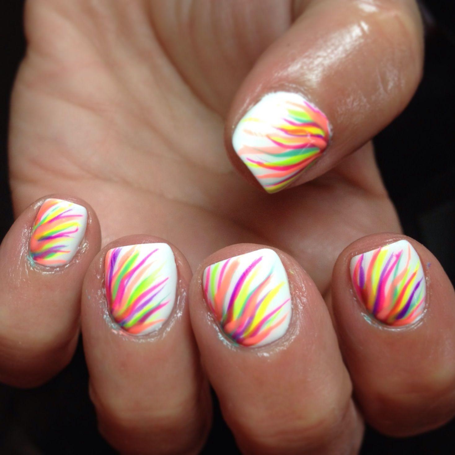 Nails Nail Art White Neon Rainbow Gelish Shellac Cute Summer Bright