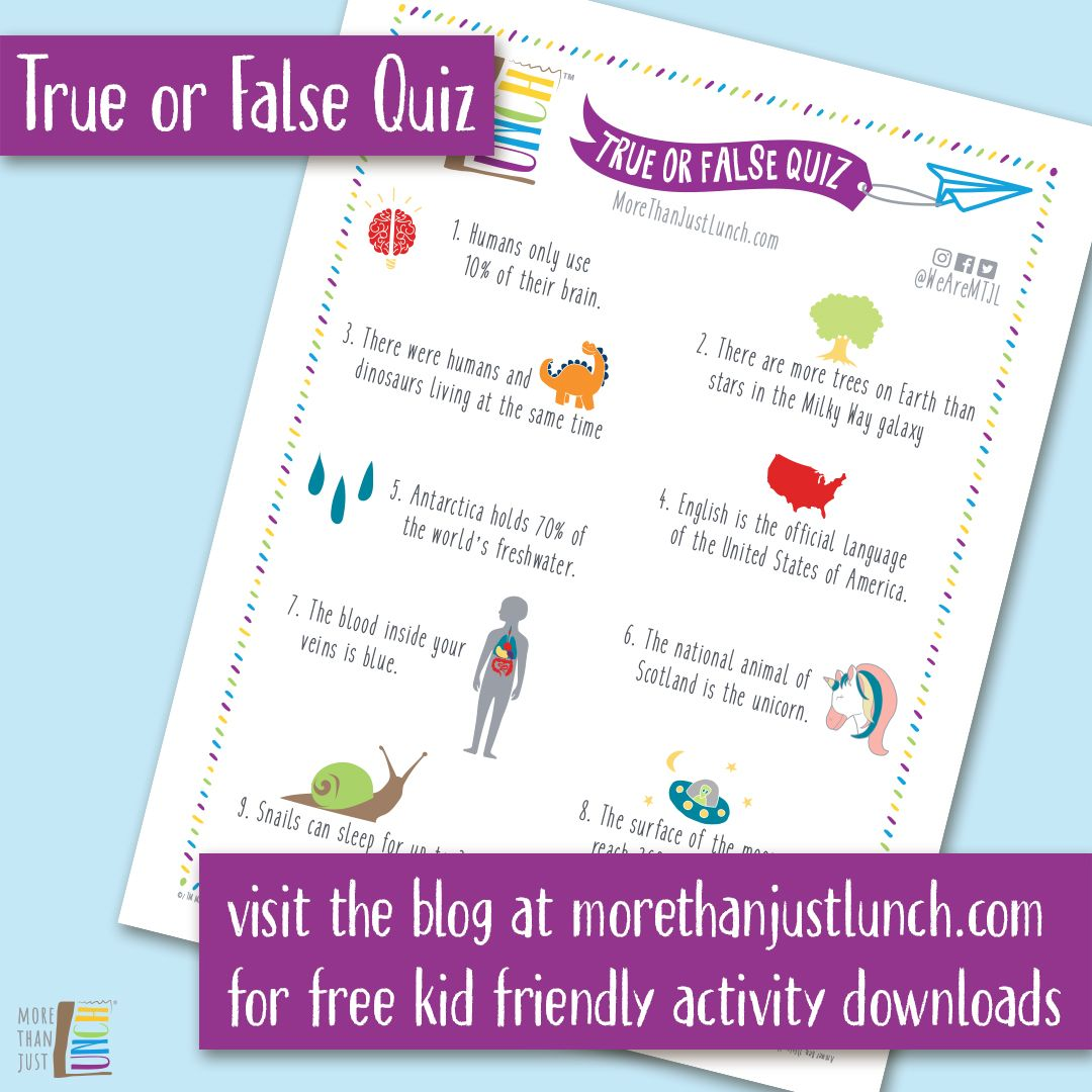 Free Kid Activity Download True Or False Quiz In