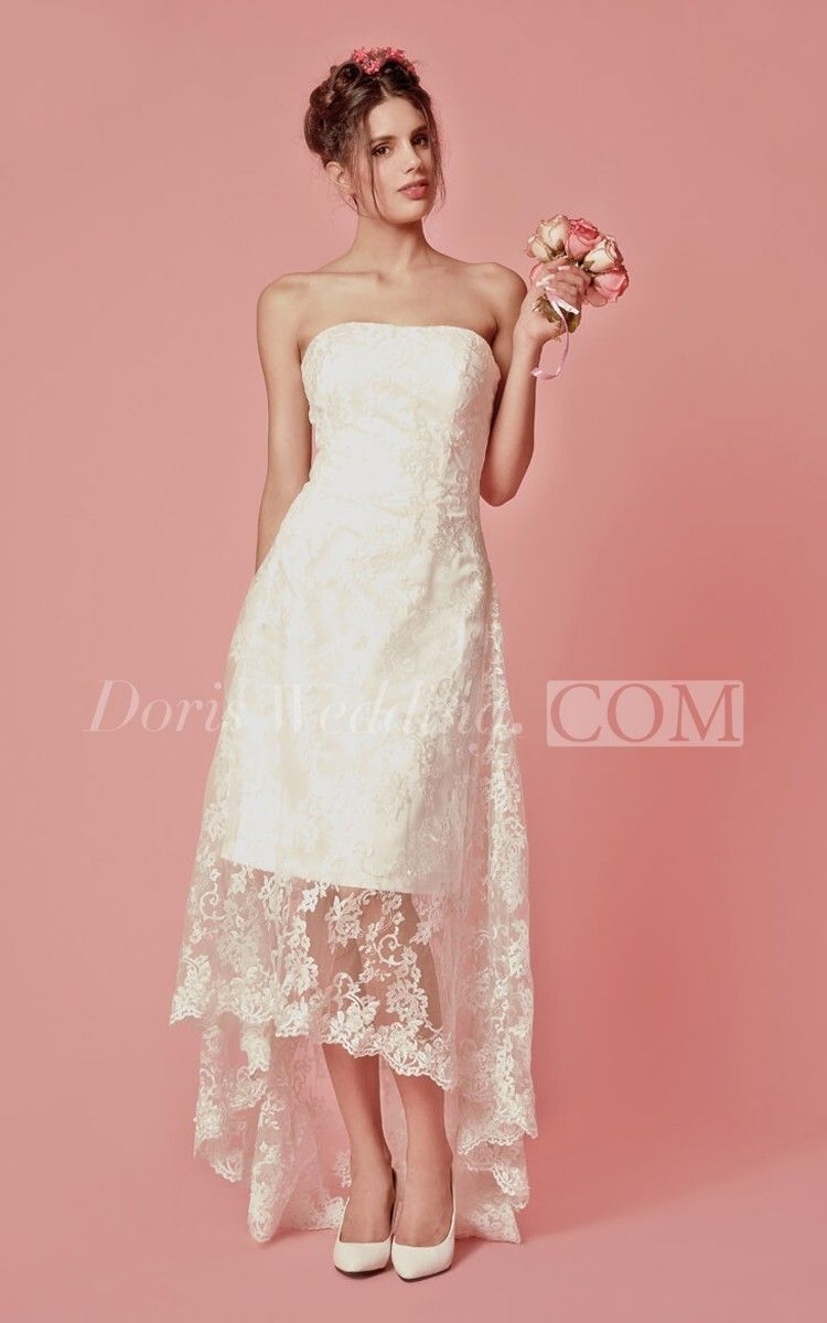 Vibrant Sleeveless High Low Lace Gown  High low Gowns and Wedding