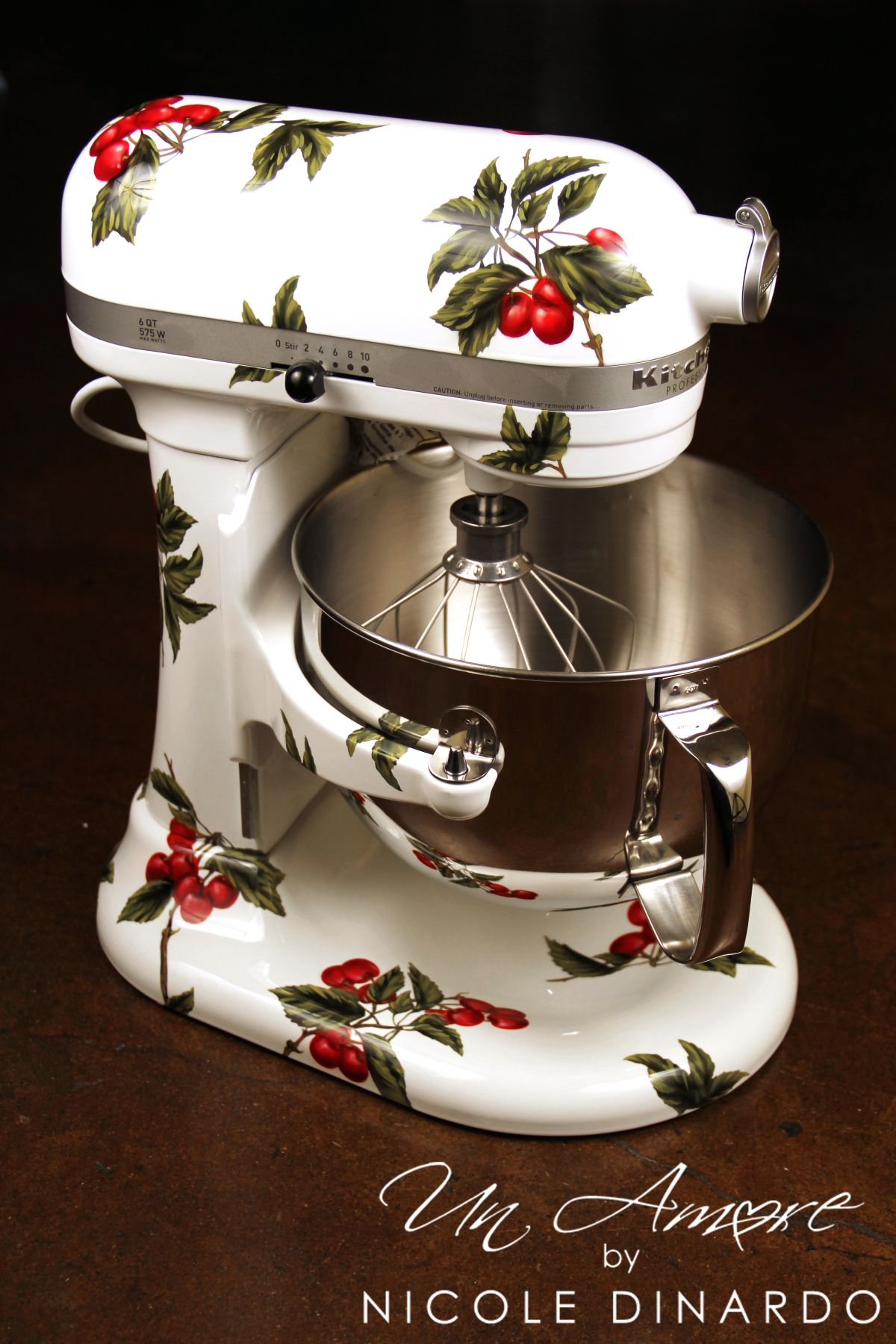 cherries on white themed custom painted kitchenaid mixer by