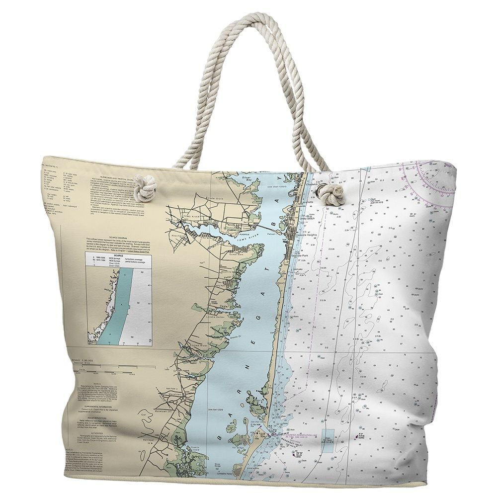 Nj Barnegat Bay Toms River To Barnegat Inlet Nj Nautical Chart Tote Bagwhether It S For Shopping Or A Day Out At The Beach Our T Map Tote Bag Tote Bag Bags