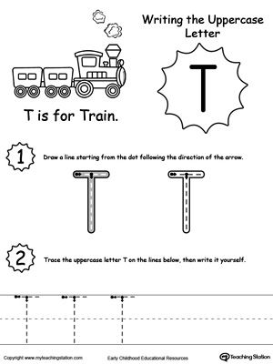 Writing Uppercase Letter T | Writing Letters & Words / Tracing ...