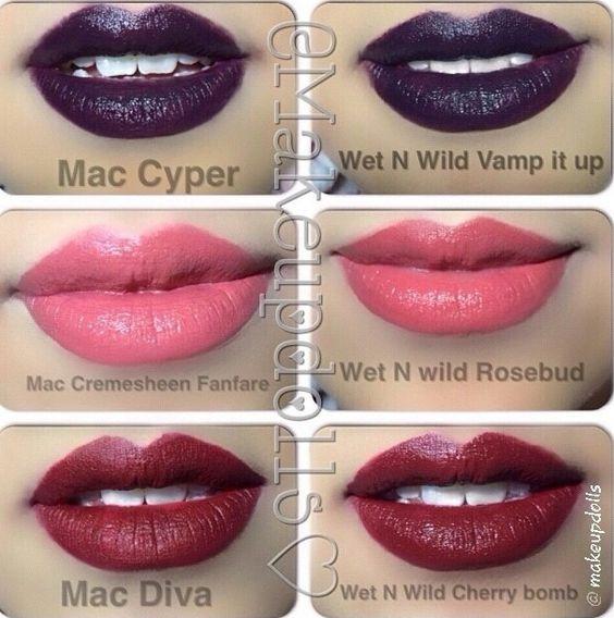 Lipstick Dupe Mac Cyper Wet N Wild Vamp It Up Mac Cremesheen Fanfare Wet N Wild Rosebud Mac Makeup Dupes Makeup Skin Care Lipstick Dupes