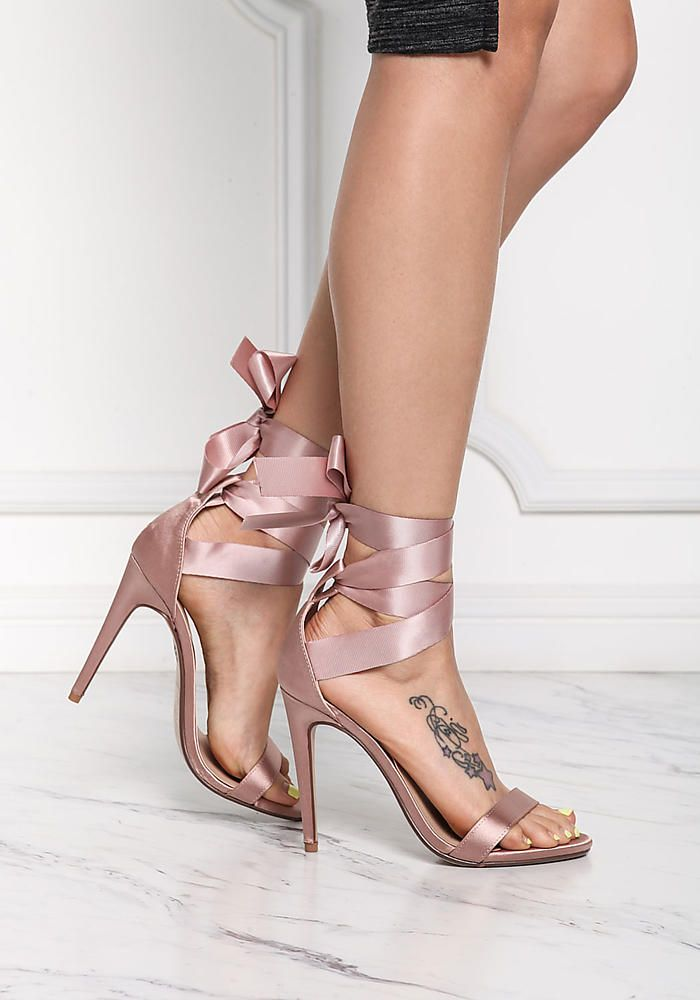 dba3cce05 Mauve Satin Ribbon Lace Up Heels - Shoes