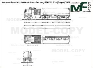 Mercedes-Benz 2632 Grobtank-Loschfahrzeug GTLF 22.5/10 (Ziegler) '1977 - blueprints (ai, cdr, cdw, dwg, dxf, eps, gif, jpg, pdf, pct, psd, svg, tif, bmp)