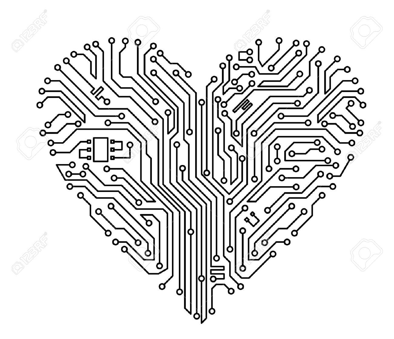 computer heart with motherboard elements for technology