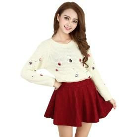 New Fashion Women Knitted Sweater Embroidery Flower Round Neck Long Sleeve Sweet Pullover Top Dark Blue/Beige