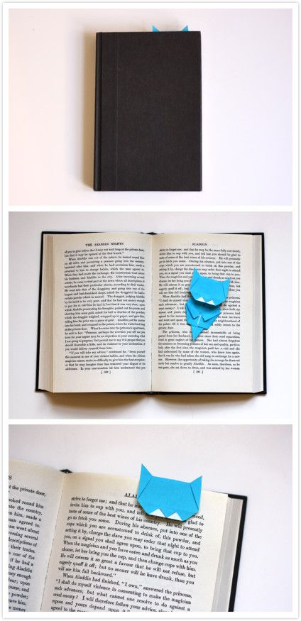 Make an origami cat bookmark