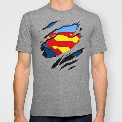 c959d6bfa624f8 superhero torn - SuperMan T-shirt