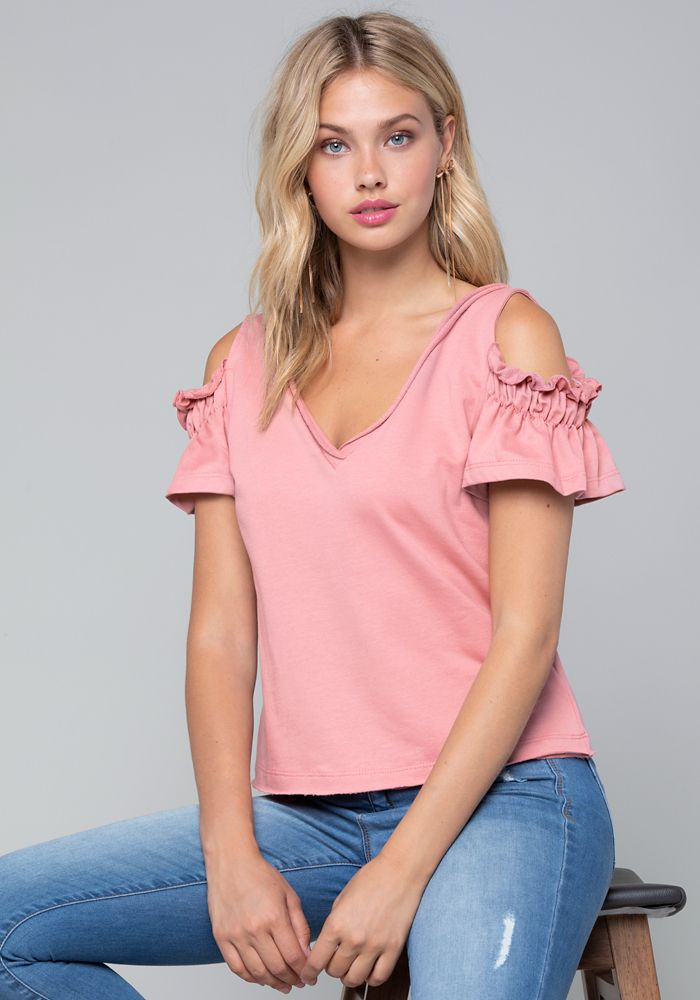 9d9024ee620aa1 Bebe Women s Sandra Cold Shoulder Top