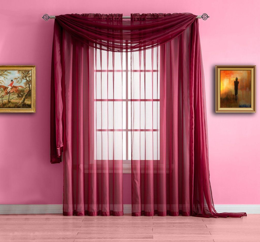 Warm Home Designs Pair Of Burgundy Red Sheer Curtains Or Extra