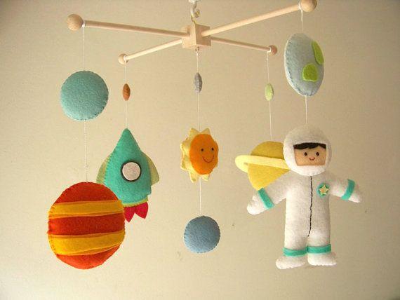 baby crib mobile astronaut mobile space mobile universe mobile nursery mobile planet 2. Black Bedroom Furniture Sets. Home Design Ideas