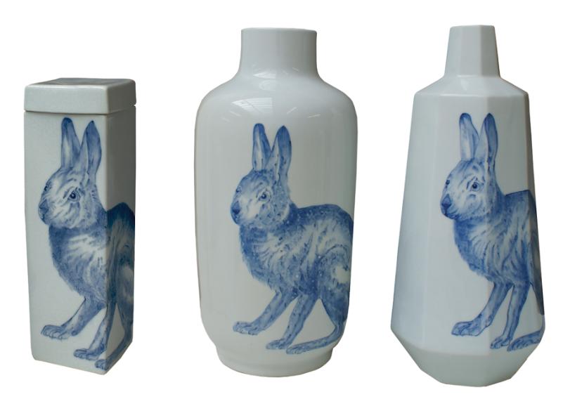 bunny porcelain vases