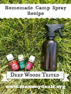 Homemade-Camp-Spray-Recipe 4 oz. Witch Hazel, 4 oz. Distilled Water 10 drops Thieves, 10 drops Purification, 10 drops Peppermint.