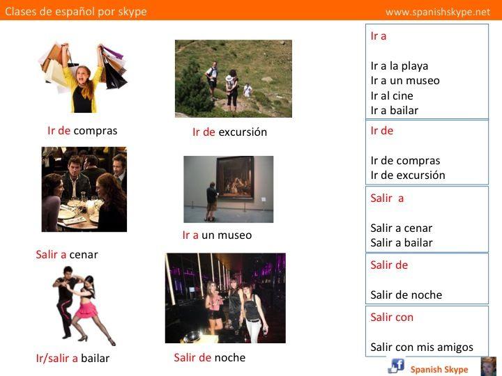 Elige la preposición correcta: a) ir …. excursión b) salir …. bailar c) ir …. compras