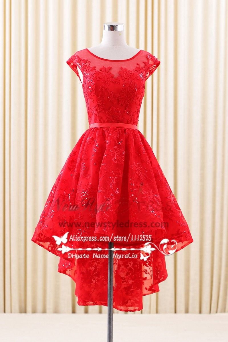Lace homecoming desses high low red aline short dress bridesmaid