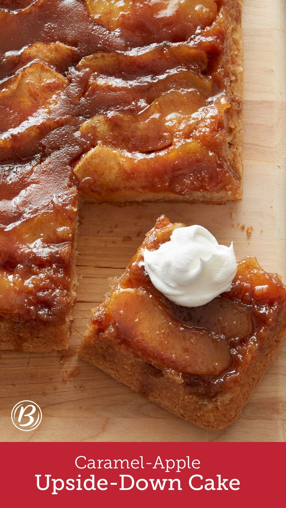 Caramel-Apple Upside-Down Cake #applerecipes
