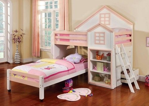 Furniture of American Citadel Pink Twin House Bunk Bed with Storage ...