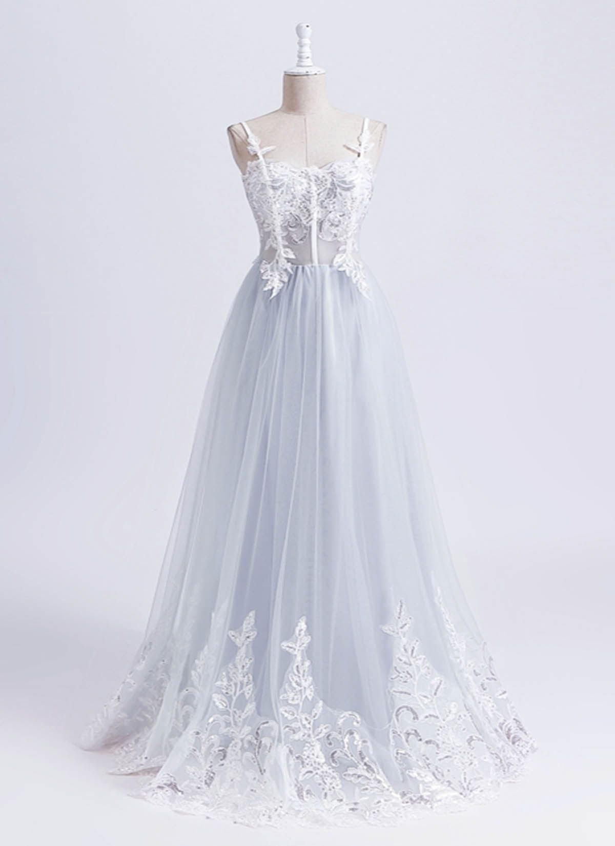 Gray tulle sweetheart neck long prom dress long lace party dress
