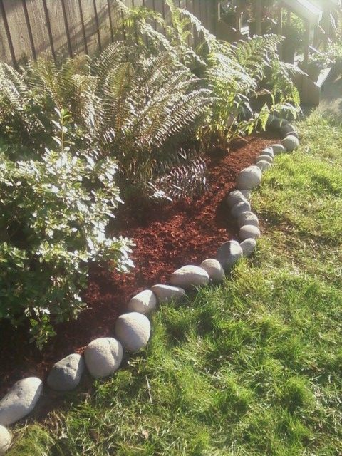 My Native Plants North Side Of House Shade Garden With Natural River Rock Border You Grow