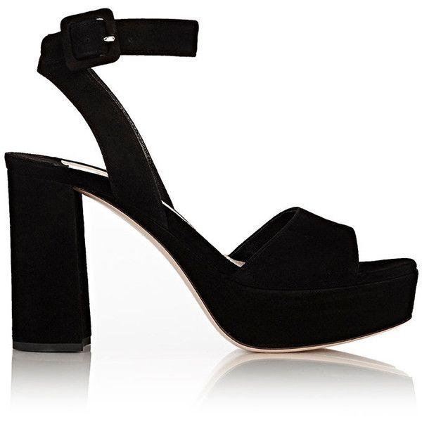 Miu Miu Women's Suede Ankle Strap Platform Sandals ($690