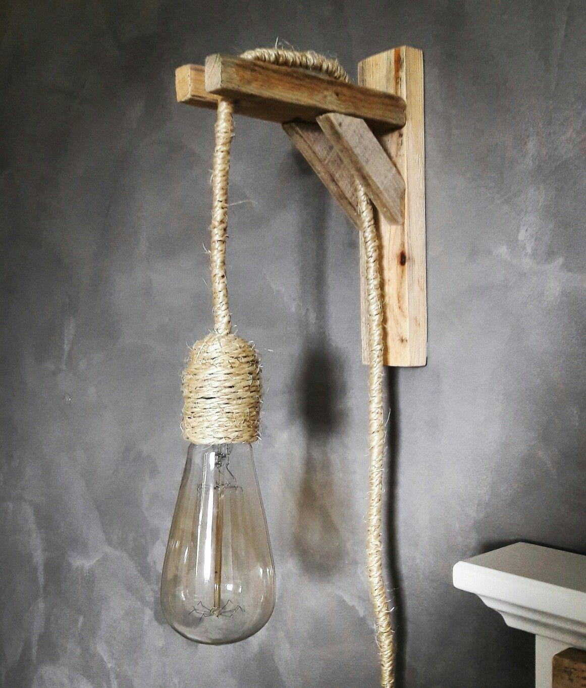 Magnifiek Zelfgemaakte lamp van touw en hout | Mijn foto's in 2019 - Light @UL87