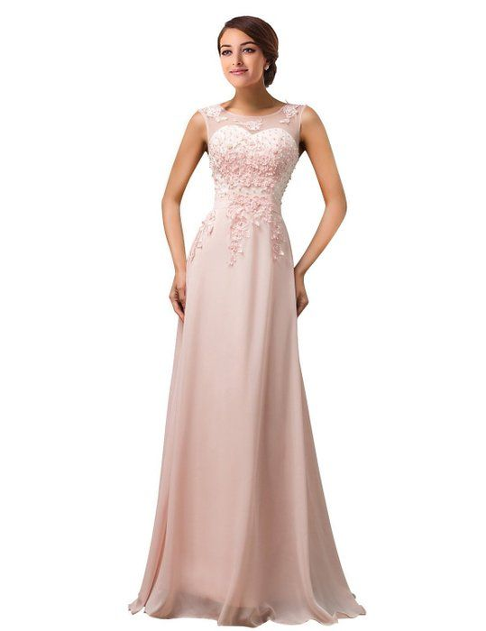 MicBridal® Lang Chiffon Herzförmig Spize Ballkleid Abendkleid mit Perlen  Rosa 44 c2dead6086