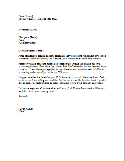 Resignation Letter Template At Http://worddox.org/formal Resignation Letter/