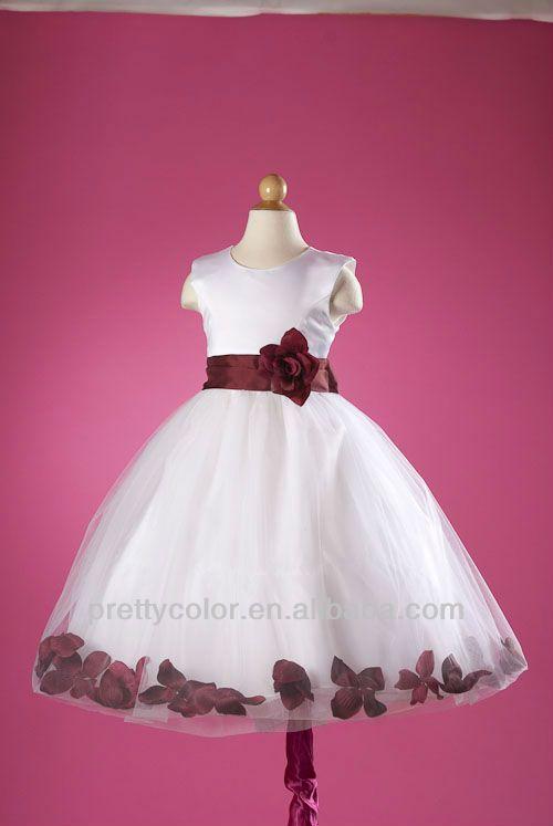 Vestidos de nina color blanco con rojo